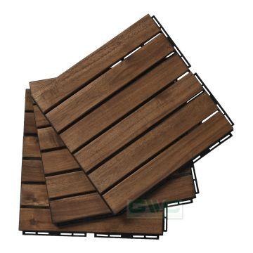 Vietnam Acacia Wood Interlocking Deck Tiles 6 Slats