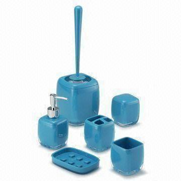 Cubo Bathroom Accessories In Blue With Soap Dish Toothbrush Holder Tumbler And Cotton Box Global Sources