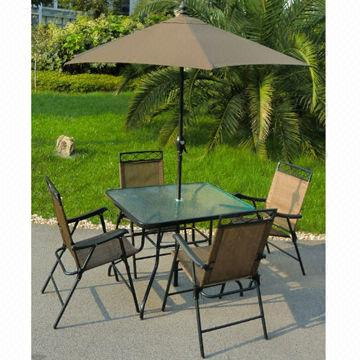 China 6 Piece Patio Set, Includes Deluxe Folding Chairs, 32x38 Inch Glass