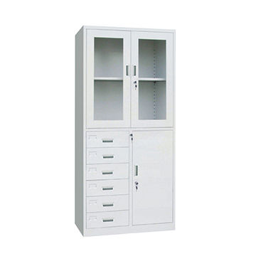 China High Quality Filing Cabinets, Glass Door, 6 Drawer And One  Compartment Locker