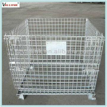 China Galvanized Storage Metal Cage Folding Steel Wire Cage