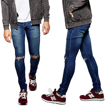 5ad5be515d5f China Super skinny fit distressed denim jeans for men with rip knee  (LOTA026) ...