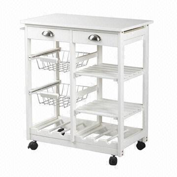 Wooden Kitchen Trolley with Drawers Shelves Wine Racks and