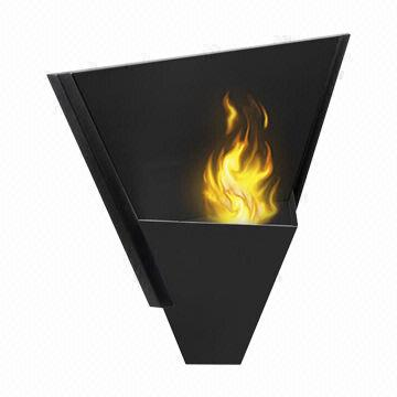 Wall Mounted Gel Fuel Fireplace Made Of Stainless Steel Burns