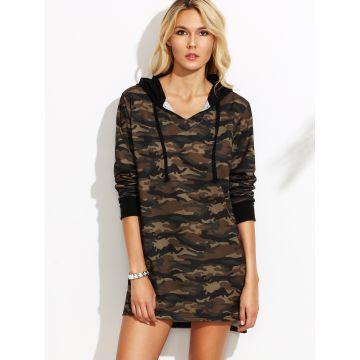 04294dd38f China Women Long Sleeve Camo Print High Low Hooded Sweatshirt Dress