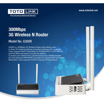 China TOTOLINK G300R 300Mbps Wireless N 3G/4G Router with USB 2.0 Port
