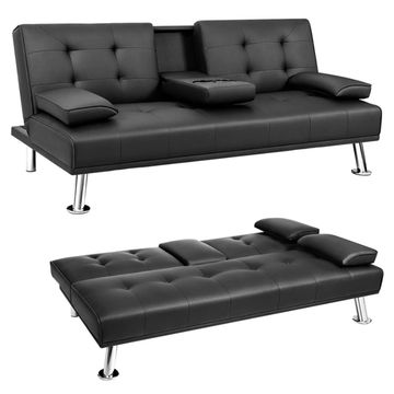 Leather Sofa Bed Convertible, Double Leather Sofa Bed
