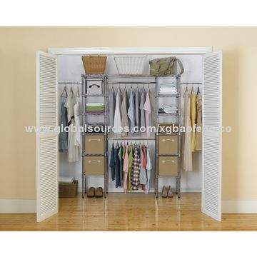 Attirant ... Chrome China Expandable Closet Organizer System, ...