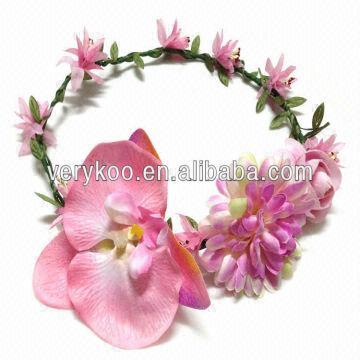 Handmade Silk Flowers Orchid Head Wreath Flower Garland For Bridal