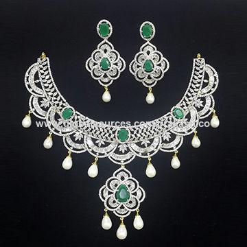 e90622391 India American Diamond Designer Necklace Set with Emerald Green Stone