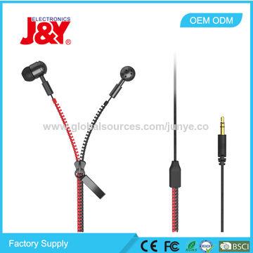 China Metal Earbuds Earphones, Fashionable In-ear Zipper Earphones