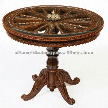 wooden carved pedestal coffee table carved furniture from india