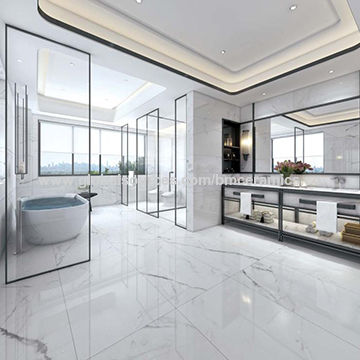 China Glazed Inkjet Porcelain Super Glossy Polished White Marble