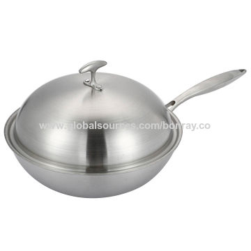 Multi Ply Clad Stainless Steel Wok With Dome Lid Global Sources