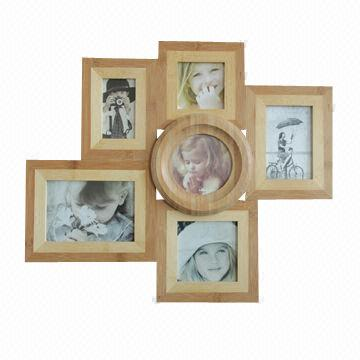 Bamboo photo frame collage with 4 x 6, 5 x 7 and 5 x 5 inches ...
