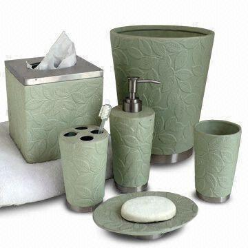 bathroom wastebasket. Taiwan Metal Bath Accessories Set with Ceramic Green Leaves Pattern  Includes Waste Basket
