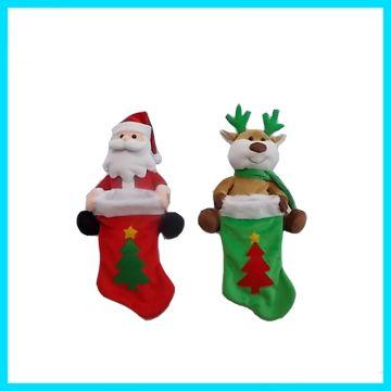 China Animated Musical Christmas Plush Toys Singing And Swaying Santa Claus Reindeer Hold Xmas Stocking