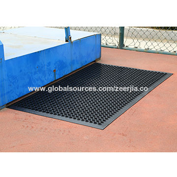 China Black rubber mat with bevel edge and holes, for ...