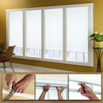 Tempfit temporary pleated blinds shades simple for Simple window treatments for large windows