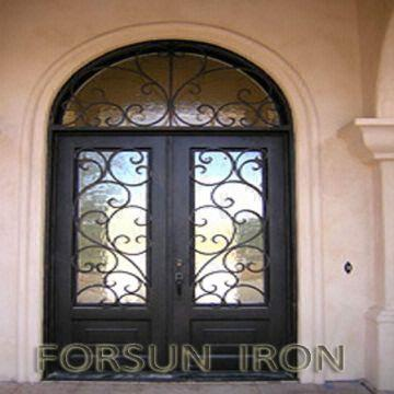 Luxury wrought iron double door with arched transom for villa ...