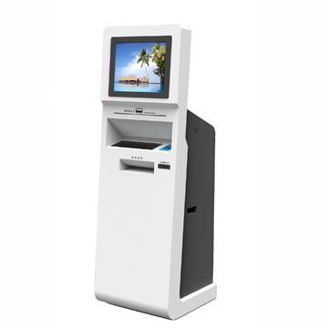 touch screen ATM kiosk terminal with plastic keyboard, mouse