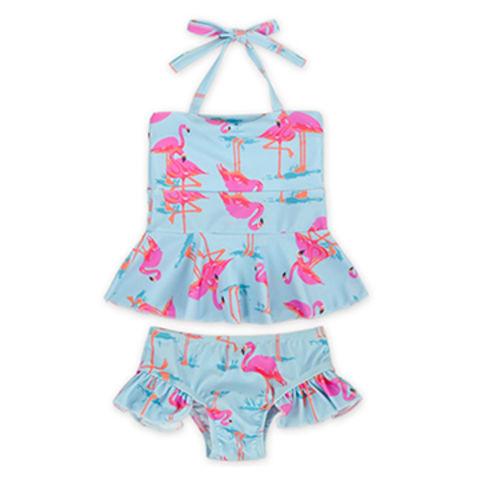 1130c91726 China Summer Children Halter Ruffle Bottom Little Girl Two Piece Flamingo  Swimsuit Beachwear Clothes ...