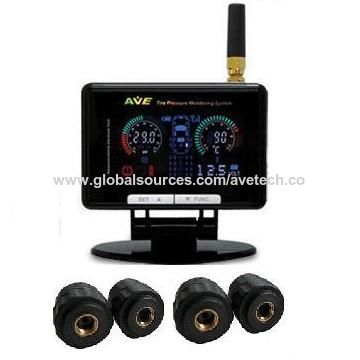Taiwan Tire Pressure Monitoring System TPMS with 700/1,400kPa Pressure Range and Color LCD
