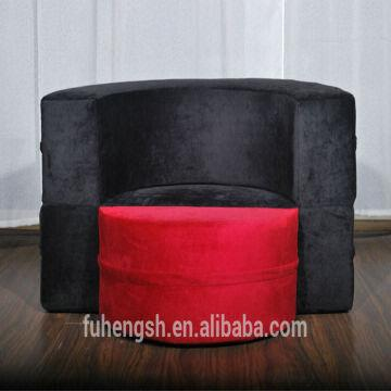 China Red And Black Comfortable Round Futon Sofa Bed 1