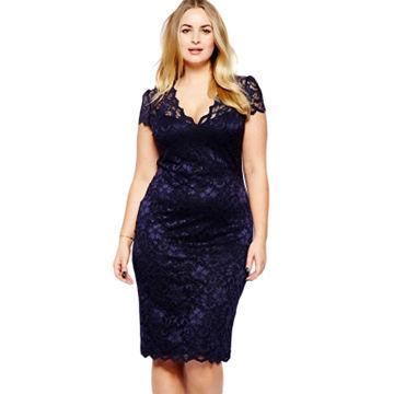 2334b889e7 China Fashion Scalloped V-neck Lace Plus Size Midi Dress, Made of  Polyester+ ...