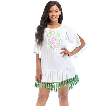 cfa7c16459 China Beach & swimsuit caftans wholesale embroidered white tassels women  beach dress cover up ...
