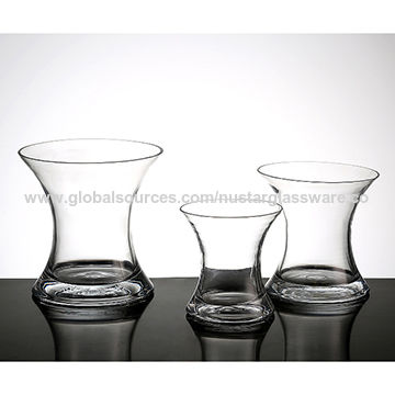 China Concave Round Clear Glass Vase Glass Gathering Vase On Global
