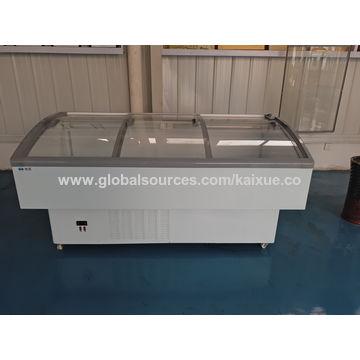 China Frozen food sliding glass door commercial island freezer and cooler