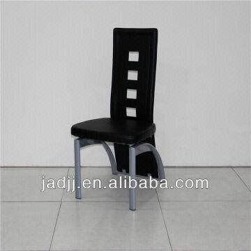 China A36p Modern Black High Back Leather Metal Chairs For Dining Room