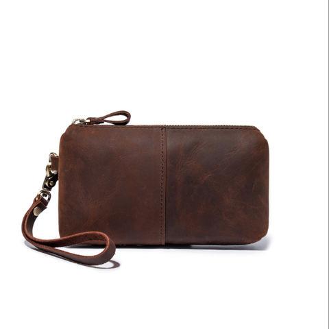 Leather clutch purse. Messenger bag Handbag Personalized leather wrist bag purse for women Women/'s purse Crazy horse leather bag