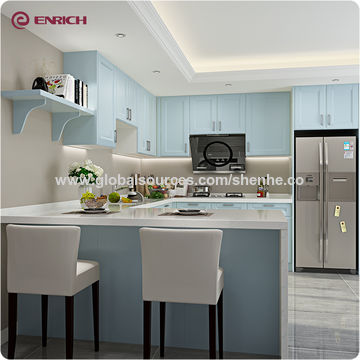 Customized modular apartment wooden blue color kitchen ...