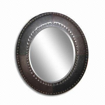 China Leather Framed Wall Mirror Available In Various Sizes Customized Colors Are Welcome