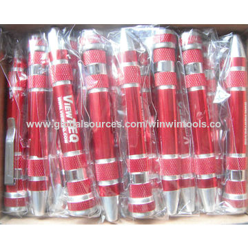 China Pen screwdriver with 8 bits, aluminum alloy shell with oxidation treatment