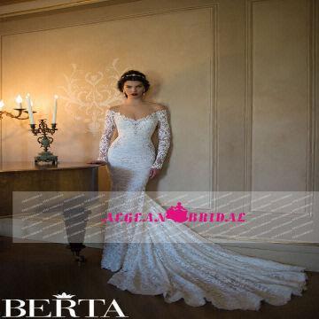 Berta Mermaid Backless Lace Beaded Long Sleeves Wedding Dress 2015 1 ...