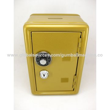 Metal Money Bank with Combination Dial, Key Lock, and Two Keys