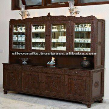 Hand Carved Buffet Cabinet With China Hutch (Carved furniture from ...