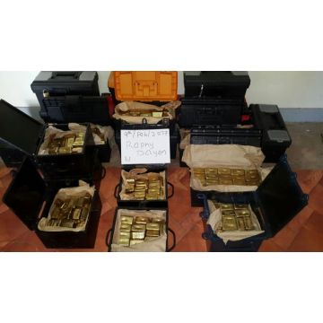 Gold dore bars ready for inspection and to be cleared through