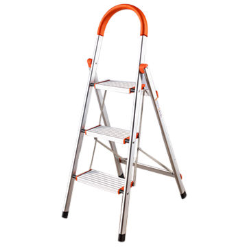China 3 Steps D Type Aluminum Free Standing Household Fold Up Step Ladder With Handrail In