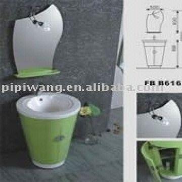 China 24 Inch Pvc Round Illuminated Bathroom Vanity Cabinet