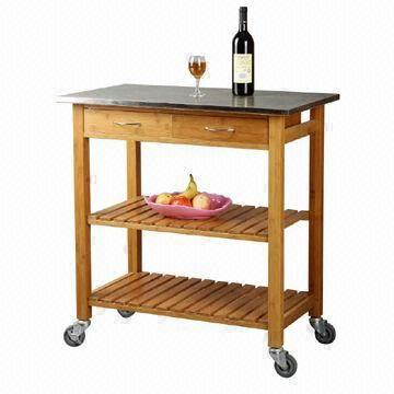China Bamboo Kitchen Trolley With Stainless Steel Countertop, Drawers And  Shelves