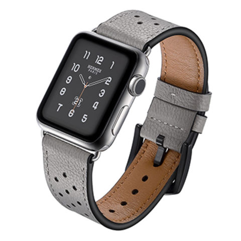 86d355e84d8555 China Genuine Leather Watch Band for Apple Watches 38mm 42mm Wrist Strap  with Stainless Steel Adapters ...