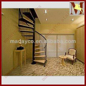 China Indoor Wooden Stair Tread Steel Railing Spiral Staircase