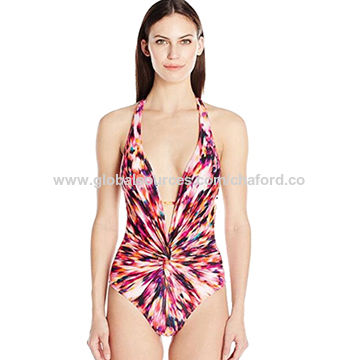 58a9e737ee9 Women's Training Swimsuit. China Women's One-Piece Sexy in Floral Explosion  Twist Plunge ...
