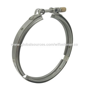 Heavy duty pipe clamp with stainless steel V band and T type