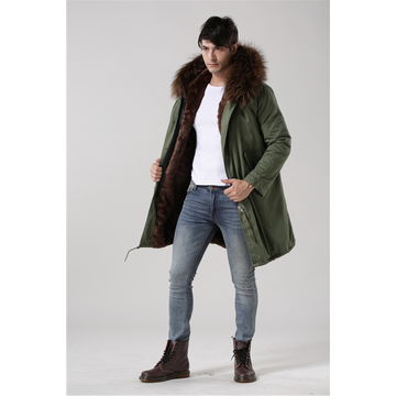 China Manufacturer men's casual jackets with raccoon fur, different sizes are accepted