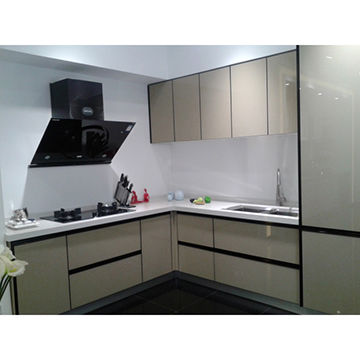 Lacquered glass door panel kitchen cabinet | Global Sources